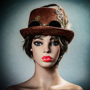 Brown Retro Steampunk Lace Trim Feather Goggles To